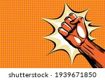 hand fist. raised arm fist with ... | Shutterstock .eps vector #1939671850