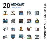 icon set of academy. line color ...