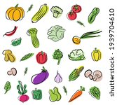 set of vegetables icons on... | Shutterstock .eps vector #1939704610