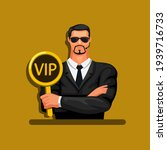 man in suit holding vip sign.... | Shutterstock .eps vector #1939716733