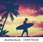 Retro Filtered Silhouette Of A...