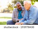 man comforting unhappy senior... | Shutterstock . vector #193978430