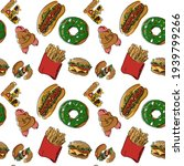 seamless fast food themed...   Shutterstock .eps vector #1939799266