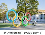 Small photo of TOKYO, JAPAN - 17 March 2021:Olympic symbol installed in front of the national stadium