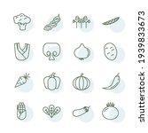 veggies set icon  isolated...   Shutterstock .eps vector #1939833673