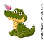 adorable little green crocodile ...   Shutterstock .eps vector #1939875673