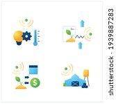 smart farm flat icons set....