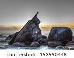 Wooden Shipwreck Beached On Th...