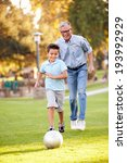 grandfather playing football... | Shutterstock . vector #193992929