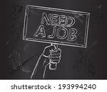 need job sketch on blackboard | Shutterstock .eps vector #193994240