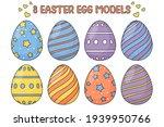 set of easter eggs isolated on... | Shutterstock .eps vector #1939950766