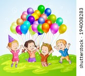 kids with balloons | Shutterstock .eps vector #194008283