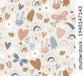 seamless pattern with bunny  ... | Shutterstock .eps vector #1940147143