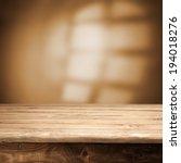 desk of wood and brown window... | Shutterstock . vector #194018276