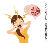a woman who has a headache  a...   Shutterstock .eps vector #1940213770