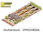 Vector Isometric Train Station...