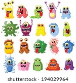 cartoon cute monsters and...   Shutterstock .eps vector #194029964
