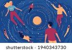 people in cosmos. cartoon young ... | Shutterstock .eps vector #1940343730