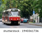 Tramway T3 In Prague Street....