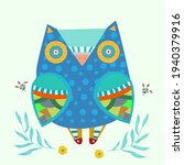 fantastic painted owl in the... | Shutterstock .eps vector #1940379916