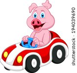 pig cartoon driving car  | Shutterstock .eps vector #194039690