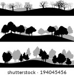 set of different silhouettes of ... | Shutterstock .eps vector #194045456