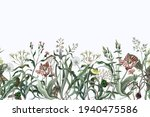border with wild thin flowers... | Shutterstock .eps vector #1940475586