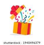 opened surprise gift box with... | Shutterstock .eps vector #1940496379
