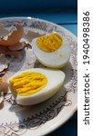 Closeup Hard Boiled Egg Sliced...