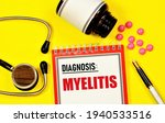 Small photo of Myelitis. The text label of the medical diagnosis. Treatment with medications and procedures.