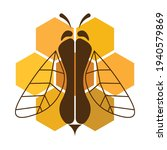 bee on honeycomb  isolated on... | Shutterstock .eps vector #1940579869