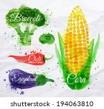vegetables set drawn watercolor ... | Shutterstock .eps vector #194063810