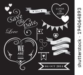 set of icons for wedding on... | Shutterstock .eps vector #194064893