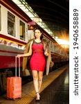 Fashion Asian Woman Wear Red...