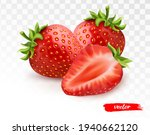 two whole strawberries and half ... | Shutterstock .eps vector #1940662120