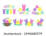 easter peeps. simple rabbit... | Shutterstock .eps vector #1940680579