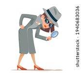 woman snoop detective... | Shutterstock .eps vector #1940683036