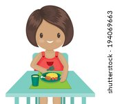 little girl is eating her... | Shutterstock .eps vector #194069663