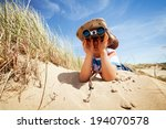 little boy searching with... | Shutterstock . vector #194070578