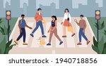 pedestrians cross the road  men ... | Shutterstock .eps vector #1940718856