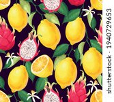 seamless pattern with lemon and ... | Shutterstock .eps vector #1940729653