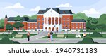 students walking and sitting on ... | Shutterstock .eps vector #1940731183
