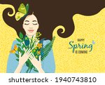 cute card happy spring is... | Shutterstock .eps vector #1940743810