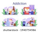 addiction concept set. idea of...