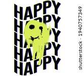 urban neon graffiti happy... | Shutterstock .eps vector #1940757349