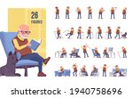 old man character set  pose... | Shutterstock .eps vector #1940758696