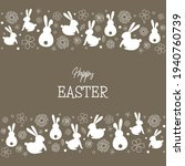 easter bunnies and flowers.... | Shutterstock .eps vector #1940760739