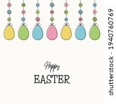 hanging easter eggs with wishes.... | Shutterstock .eps vector #1940760769