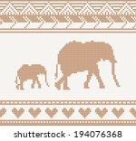 Knitted Pattern With Elephant...