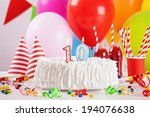 birthday cake on colorful... | Shutterstock . vector #194076638